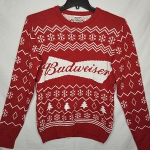 BUDWEISER RED LOGO UGLY CHRISTMAS SWEATER NWOT S